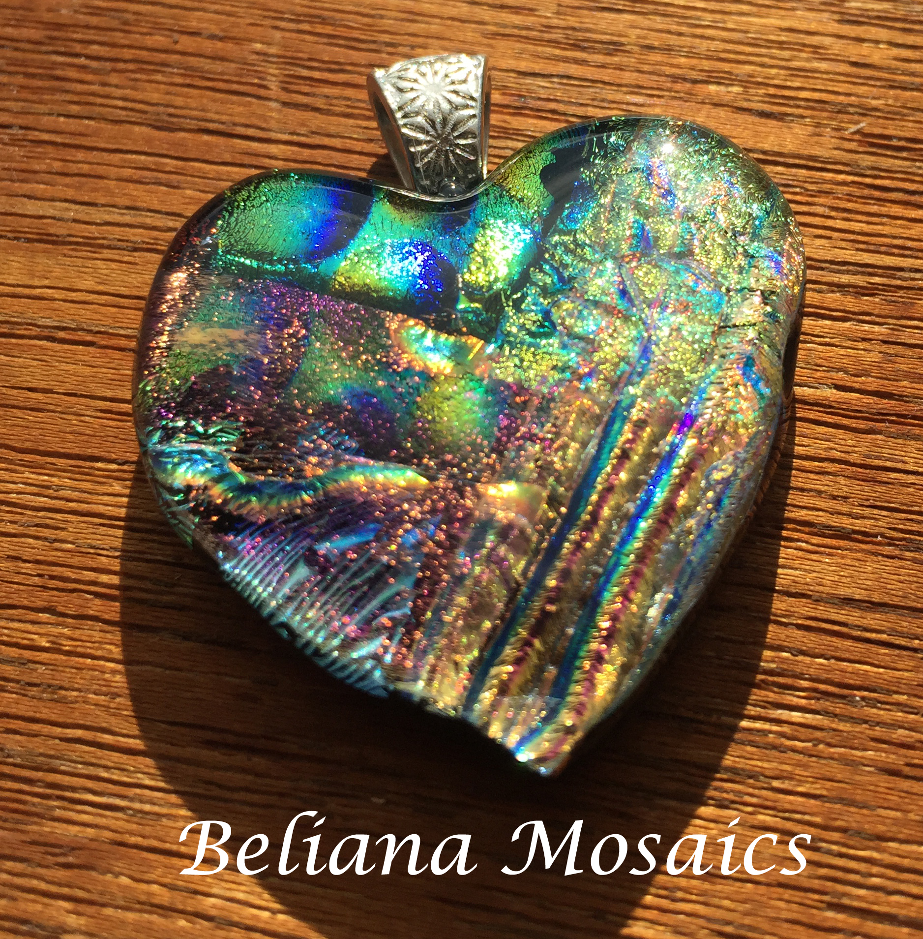 Beautiful Dichroic mosaic heart