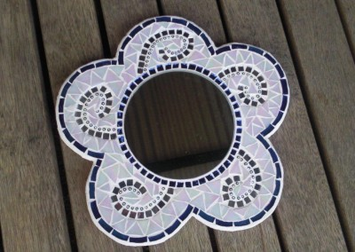 Blue and white daisy mirror