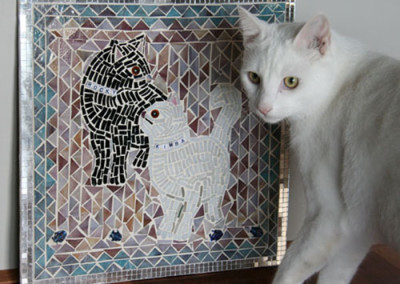 Kimba checking out her mosaic!